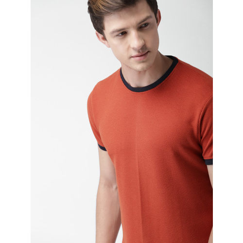 Mast & Harbour Men Orange Solid Round Neck T-shirt
