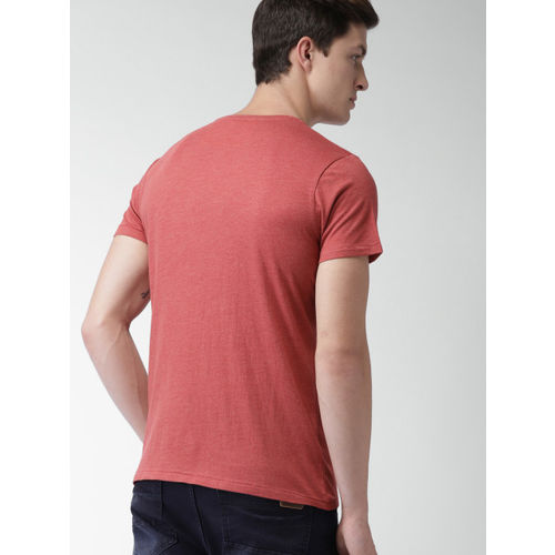 Mast & Harbour Men Rust Red Printed Round Neck T-shirt