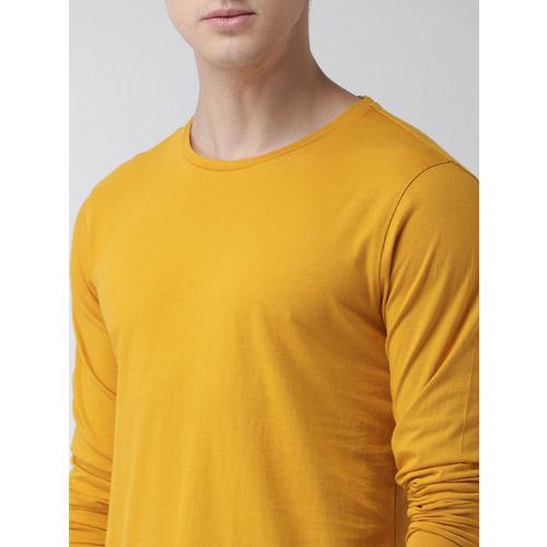 Mast & Harbour Men Mustard Yellow Lightweight Solid Round Neck T-shirt