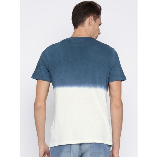 Mast & Harbour Men Blue & White Dyed Round Neck T-shirt