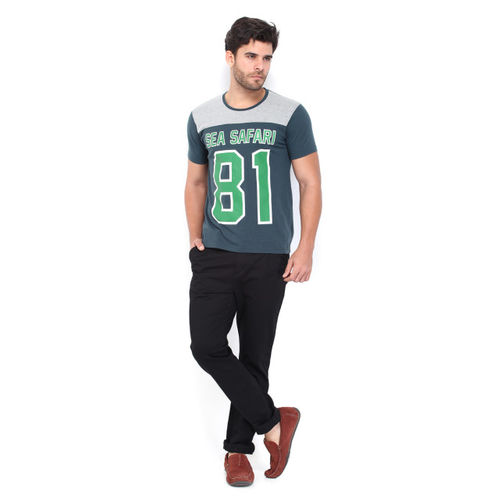 Mast & Harbour Men Teal Green Printed T-shirt