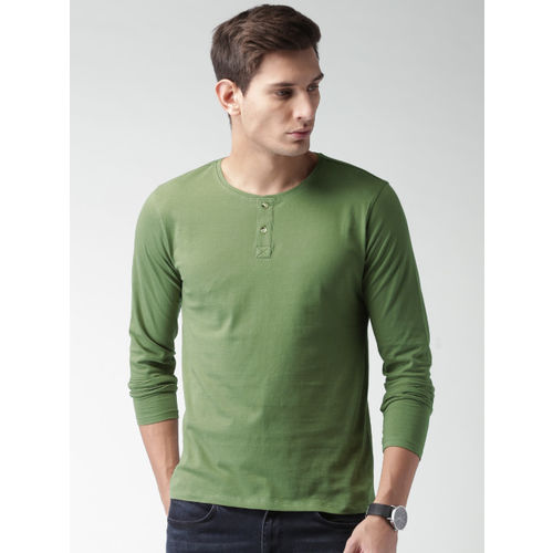 Mast & Harbour Men Olive Green Solid Henley T-shirt
