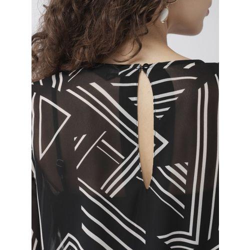 FOREVER 21 Women Black Printed Blouson Top