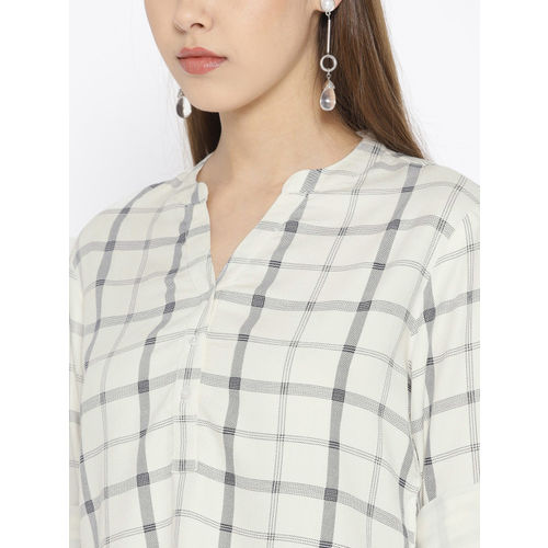 Lee Cooper Women White & Black Checked Shirt Style Top