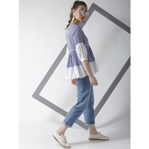 La Zoire Women Blue & White Striped A-Line Top