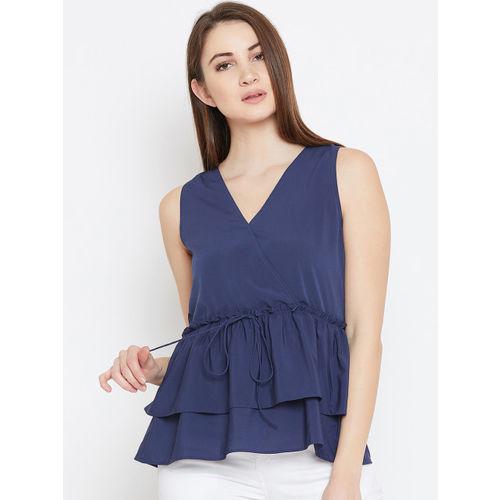 Imfashini Women Blue Solid Peplum Top