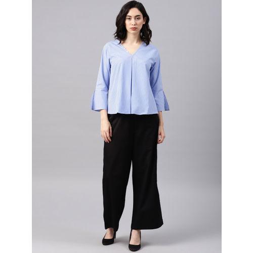 NUSH Women Blue & White Striped Top