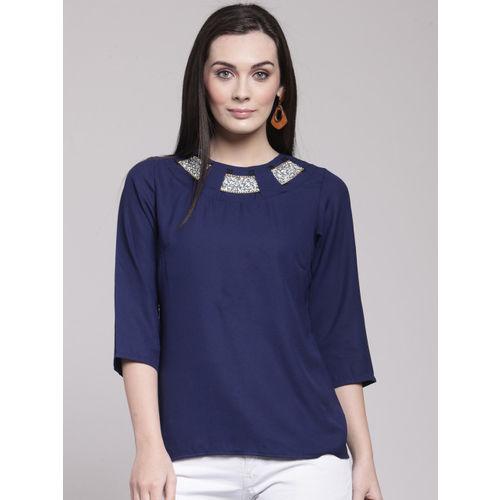 plusS Women Blue Solid A-Line Top