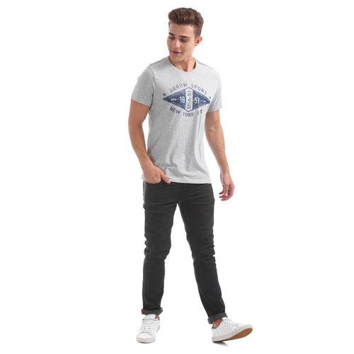 Arrow Sport Men Grey Melange Printed Round Neck T-shirt
