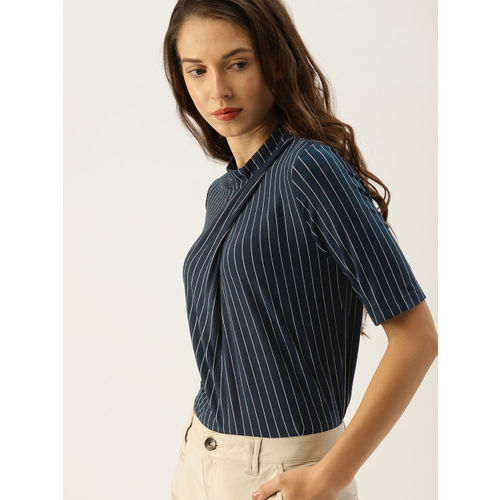 7af721e23 Buy United Colors of Benetton Women Navy Blue & White Striped Top ...