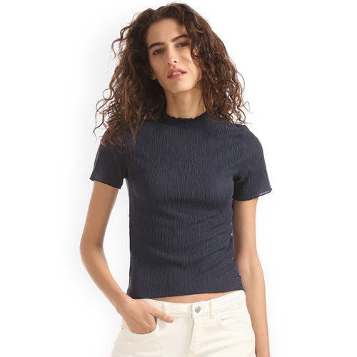 Elle Women Navy Blue Self Design Fitted Top