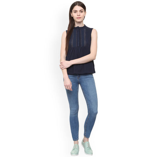 Allen Solly Woman Navy Blue Linen Solid Top