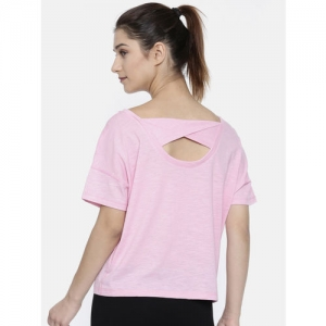 ba44b7264c1 Puma Women Pink Solid Twist it Tee Pale Heather Dry-Cell Styled Back Top