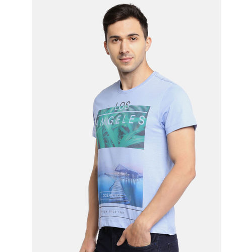 Arrow Sport Men Blue Printed Round Neck T-shirt