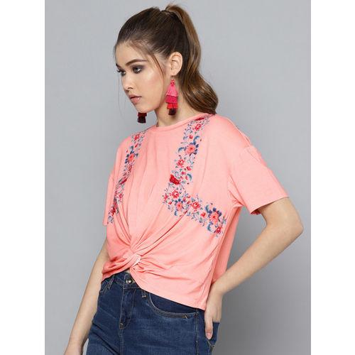Label Ritu Kumar Women Pink Knot Detail Printed Crop Top