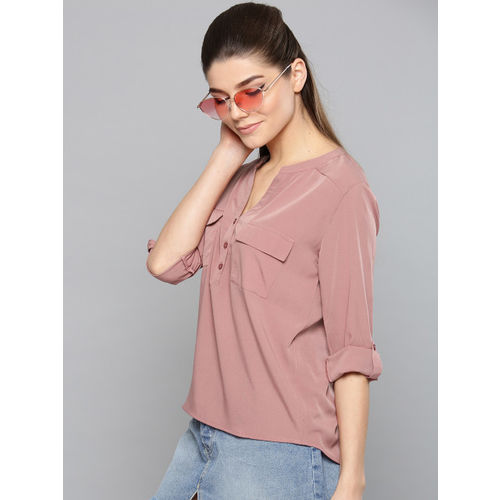 Harpa Women Dusty Pink Solid Shirt Style Top
