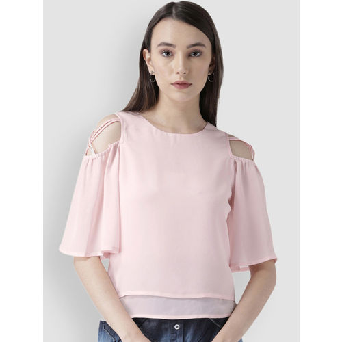 LA LOFT Women Pink Solid Cold-Shoulder Top