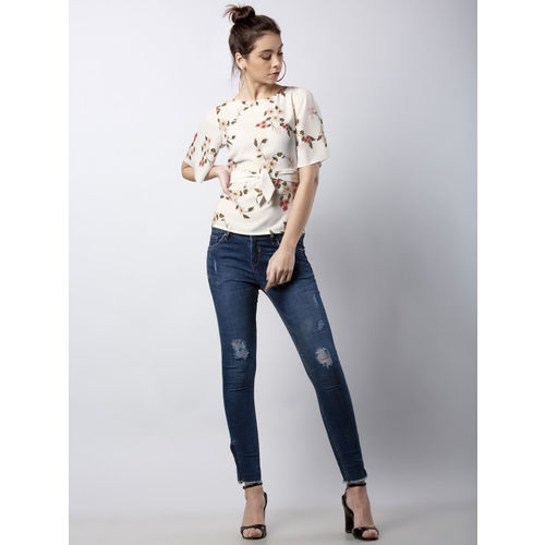 FabAlley Women Off-White Printed A-Line Top