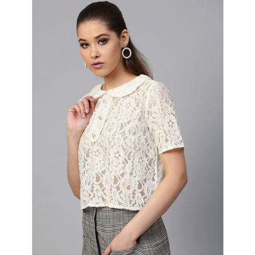 STREET 9 Women Off-White Lace Sheer Boxy Top