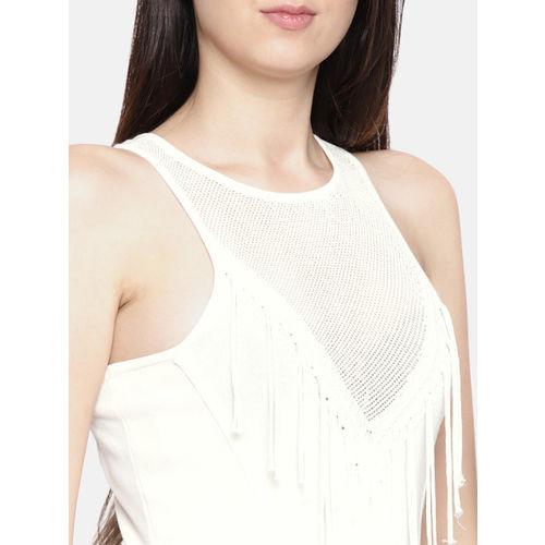 Elle Women Off-White Solid Tasselled Top