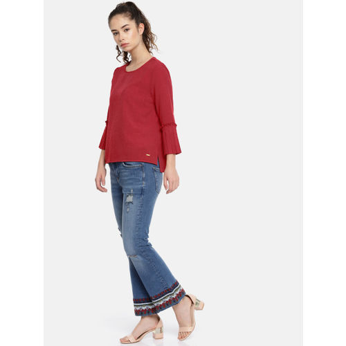 Elle Women Red Solid High-Low Top