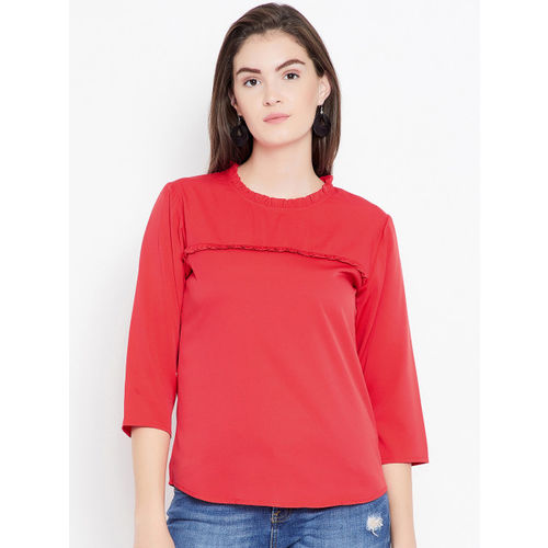 Ruhaans Women Red Solid A-Line Top