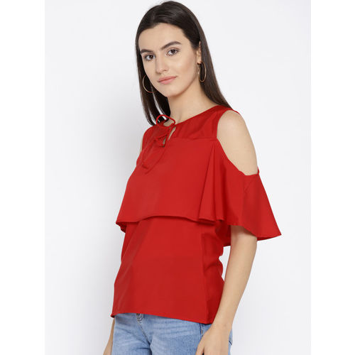 Cottinfab Women Red Solid Regular Top