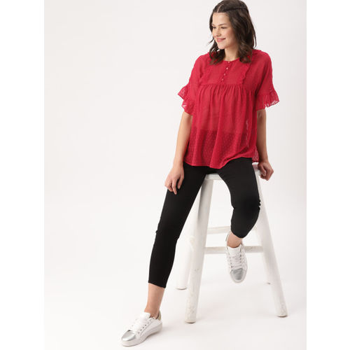 DressBerry Women Red Self Design Top
