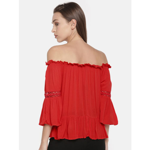 ONLY Women Red Solid Bardot Top