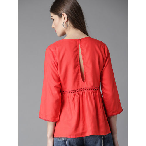 HERE&NOW Women Red Solid Styled Back Top