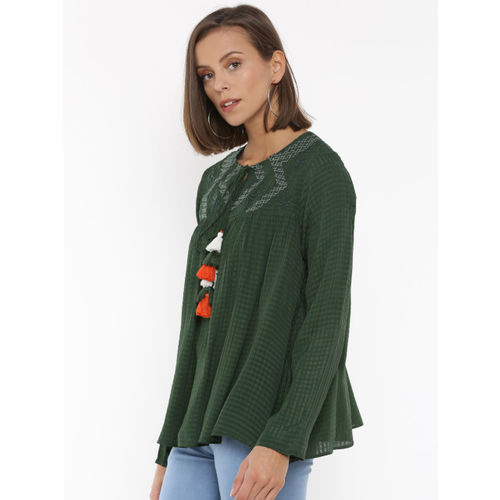Splash Women Green Self Design A-Line Top