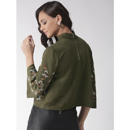Madame Women Olive Green Embroidered Top