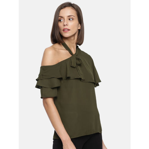 CODE by Lifestyle Women Olive Green Solid Top