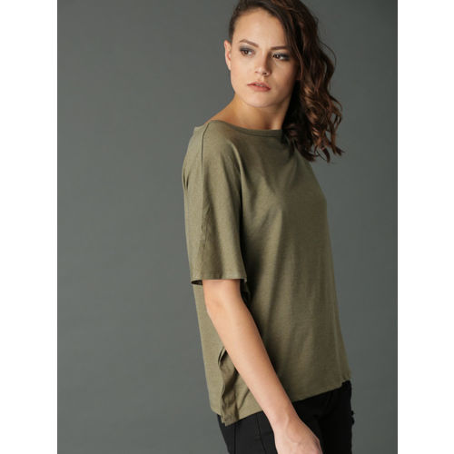 Roadster Women Olive Green Solid Kaftan Top