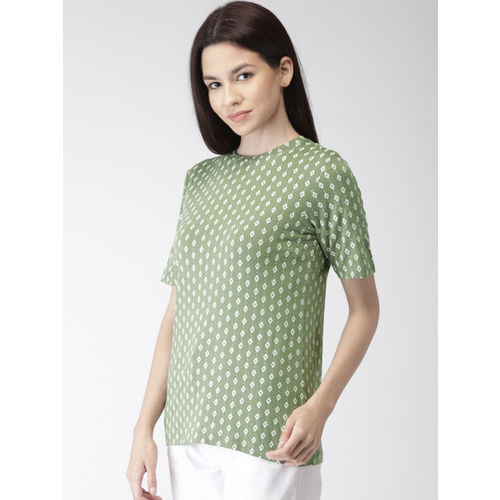 Bossini Women Olive Green Printed Styled Back Top