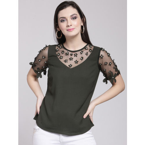 plusS Women Olive Green Embellished Top