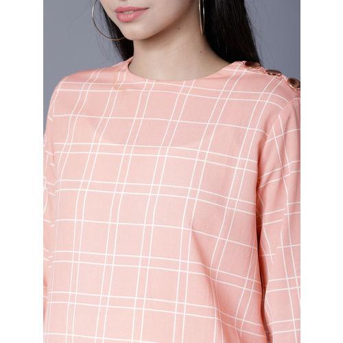 Tokyo Talkies Women Peach-Coloured Checked Top