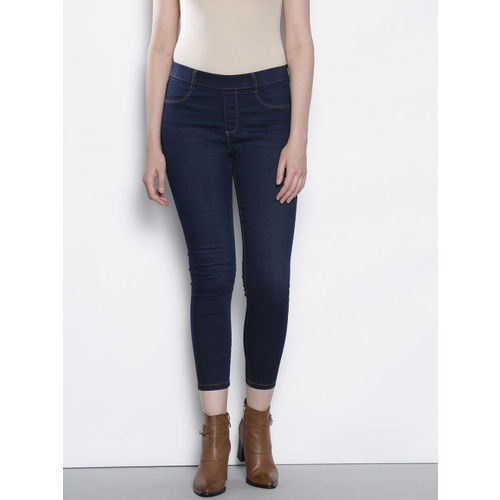 DOROTHY PERKINS Women Navy Blue Solid Cropped Jeggings