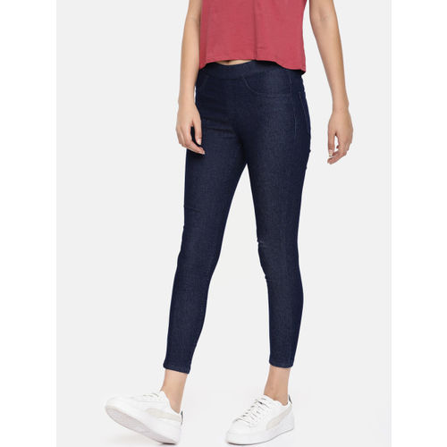 world-wide free shipping new high new images of Buy People Women Blue Solid Three-Fourth Jeggings online ...