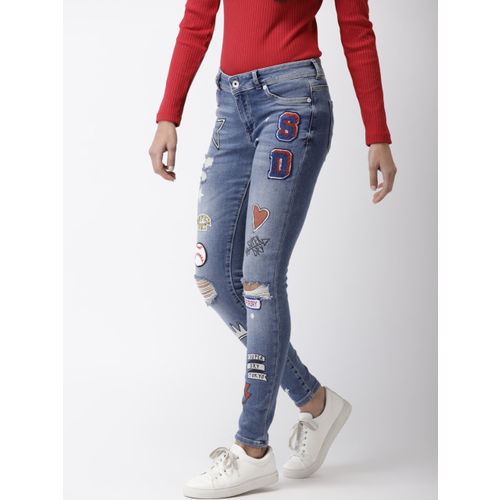 Superdry Women Blue Printed Distressed Alexia Jeggings