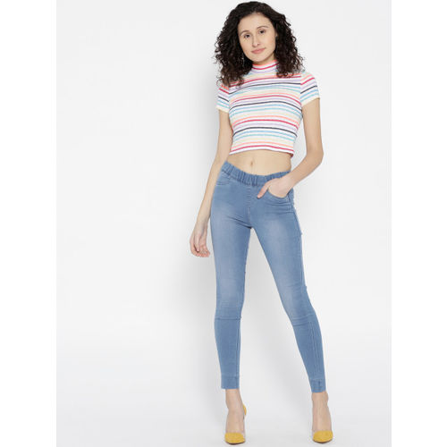 Xpose Blue Washed Skinny Fit High-Rise Jeggings
