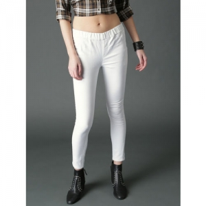 Roadster Women White Solid Jeggings