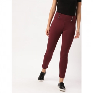 DressBerry Women Maroon Solid Cropped Treggings