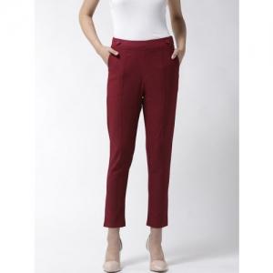 La Zoire Women Maroon Solid Slim Fit Cropped Treggings