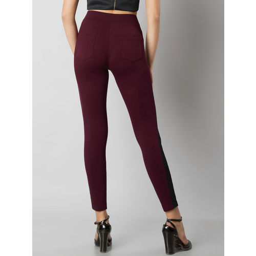 FabAlley Women Maroon Woven Treggings
