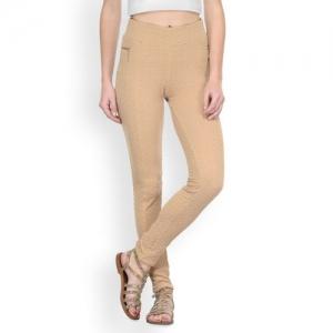 Westwood Beige Self-Design Skinny Fit Treggings