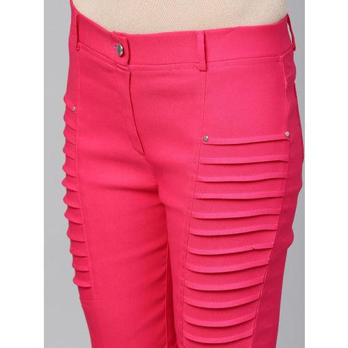 Tulsattva Women Pink Solid Slim Fit Cropped Treggings