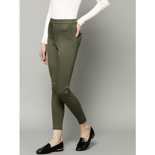 b0e0fc09c8280e ... Marks & Spencer Women Olive Green Flexi Fit Solid Cropped Treggings ...