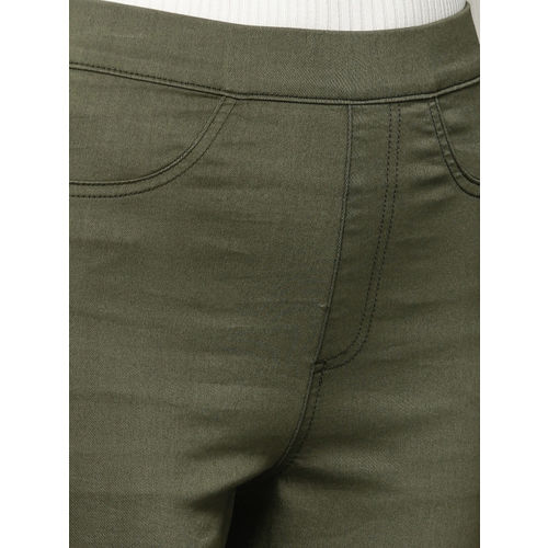 821dbd1973199f Marks & Spencer Women Olive Green Flexi Fit Solid Cropped Treggings ...