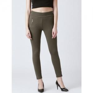 Devis Women Olive Green Solid Skinny-Fit Jeggings
